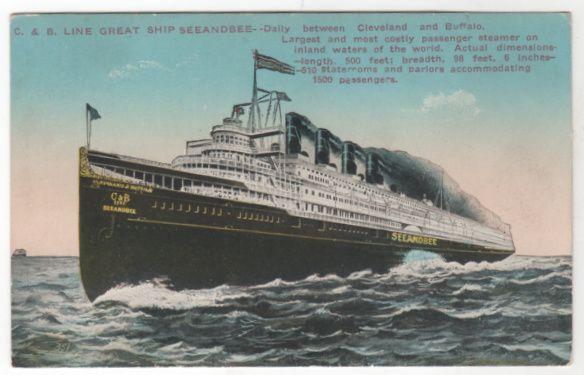 C and B Line Great Ship Seeandbee Cleveland OH Buffalo NY Vintage Postcard