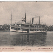 Steamer City of Cincinnati Chatauqua NY New York Vintage Postcard