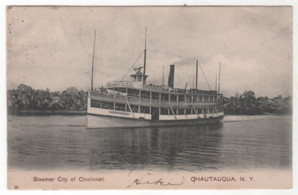 Steamer City of Cincinnati Chatauqua NY New York Vintage Postcard