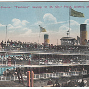 Excursion Steamer Tashmoo St Clair Flats Detroit MI Michigan Vintage Postcard