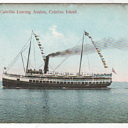 The Steamer Cabrillo Leaving Avalon Catalina Island CA California Vintage Postcard