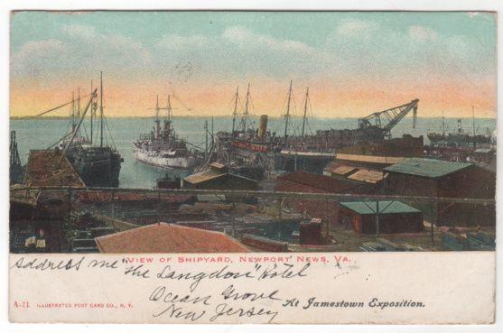 View of Shipyard Newport News VA Virginia Vintage Postcard - At Jamestown Exposition