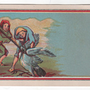 Two Medieval Men Capturing a Stork Victorian Trade Card