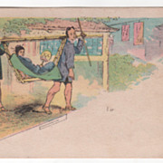 Two Men Carrying a Woman in a Bamboo Litter Victorian Trade Card
