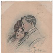 Unreadable Artist Signed Vintage Postcard of a Couple - 1907
