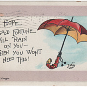"Greetings ""I Hope Good Fortune Will Rain on You - Then You Won't Need This"" Vintage Postcard"