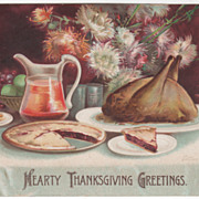 Artist Signed Clapsaddle Thanksgiving Table Spread Vintage Postcard