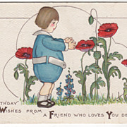 Artist Signed Margaret Evans Price Birthday Child in a Flower Garden Vintage Postcard