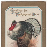Artist Signed Clapsaddle Gobbler Thanksgiving Vintage Postcard