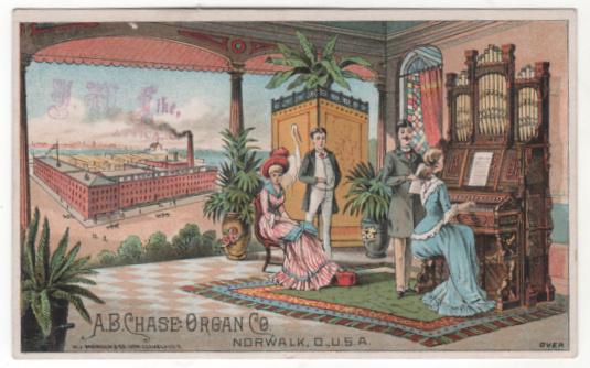 A B Chase Organ Co Norwalk OH Ohio Victorian Trade Card