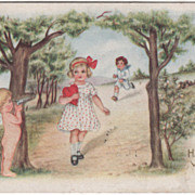 Cupid Aims Gun at Girl as Boy Runs behind Her Valentine Vintage Postcard