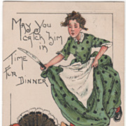 Artist Signed H B Griggs Woman Chasing Turkey with Knife Vintage Thanksgiving Postcard