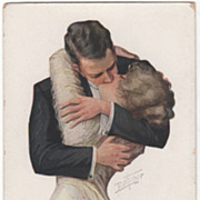 Artist Signed Bill Fisher Couple Engaged in a Passionate Kiss Vintage Postcard