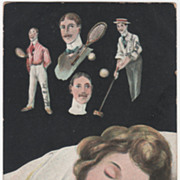 "Woman Sleeping ""Dream on My Valentine"" Men Polo Tennis Vintage Postcard"