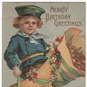 "Dutch Boy with Bag of Gold Coins ""Happy Birthday Greetings"" Vintage Birthday Postcard"