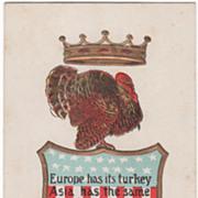 Crown Turkey Gobbler Standing on a Shield Vintage Thanksgiving Postcard