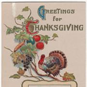 Turkey Gobbler on a Grape Vine Fall Scene Vintage Thanksgiving Postcard