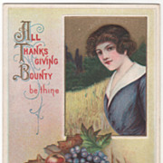 Young Lady Harvest Cornucopia Vintage Thanksgiving Postcard