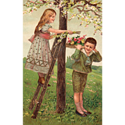Girl on Ladder Filling Boy's Tray with Flowers Vintage Birthday Postcard