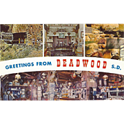 Greetings from Deadwood SD South Dakota Vintage Postcard