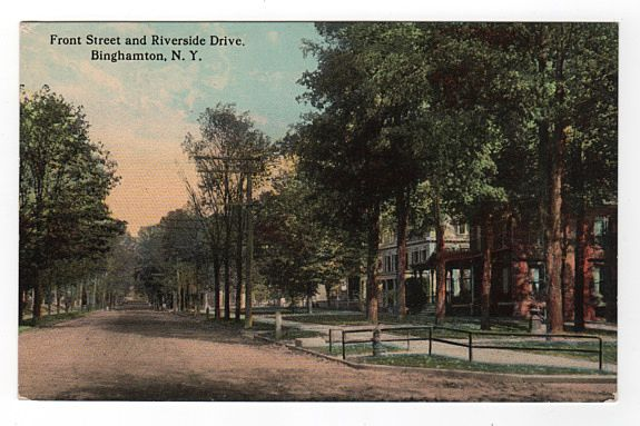 Front Street and Riverside Drive Binghamton NY postcard