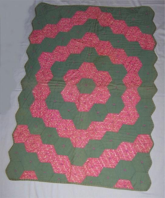 1940s Green and Pink Crib Quilt