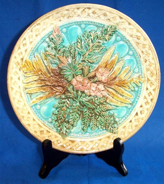 Basket-weave Majolica Plate with Fern Leaves and Flowers