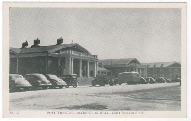 Post Theatre - Recreation Hall - Fort Belvoir VA Virginia - Early Chrome