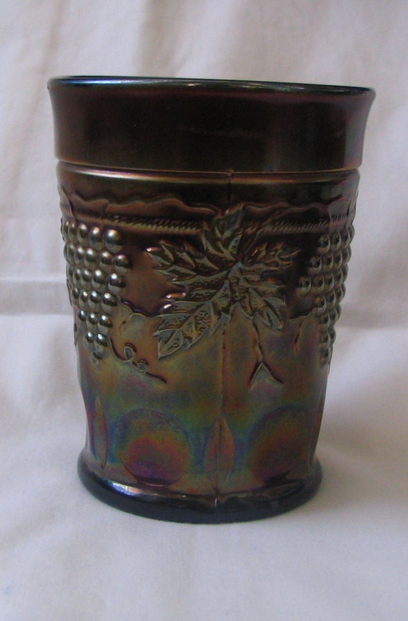Amethyst Carnival Glass Grape and Cable with Thumbprint Tumbler