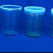Four Blue Opalescent Glass Tumblers