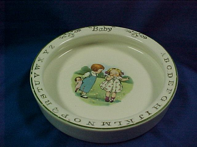 Pottery Baby Dish with Alphabet and Campbell Kids Transfer