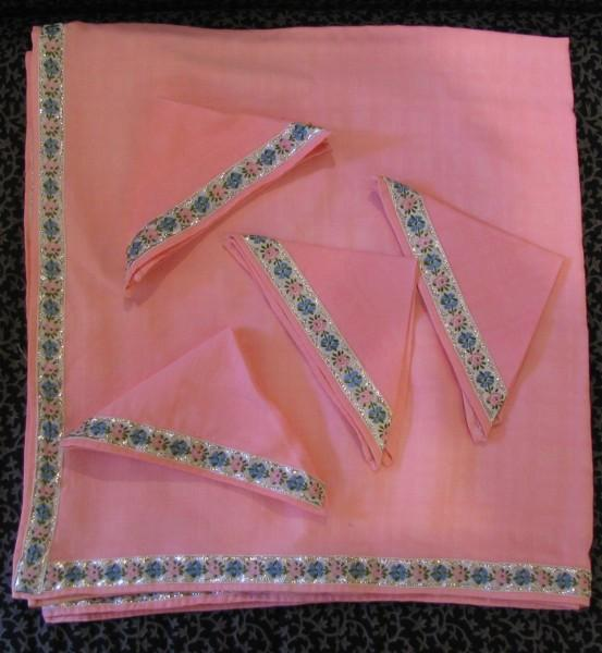 Five Piece Pink Luncheon Set - Tablecloth and Four Napkins