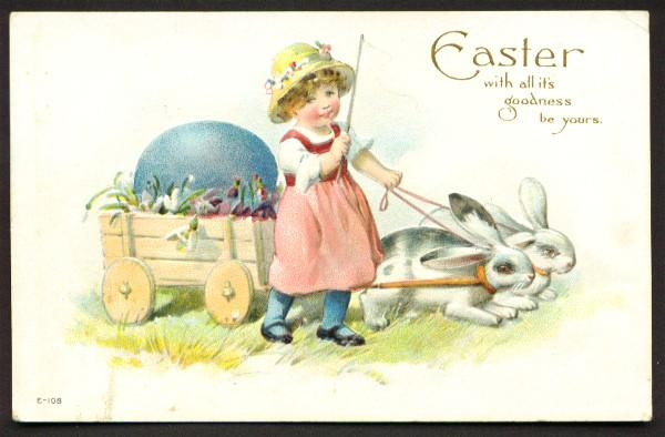 Easter Postcard Cute Girl Driving Bunnies Pulling Cart with Blue Egg