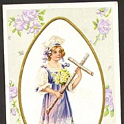 Embossed Nash Easter postcard young maiden holding cross