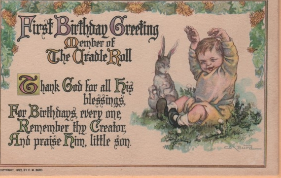 Postcard First Birthday Greeting Member of Cradle Roll