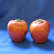 Ceramic red apples salt and pepper shakers
