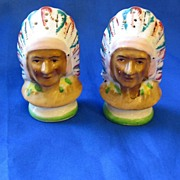 Indian Chiefs Salt and Pepper Set Occupied Japan
