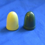 1950s Plastic Light Dark Green Salt and Pepper Shakers