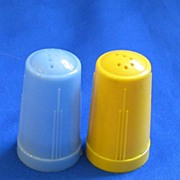 1950s Plastic Blue and Yellow Salt and Pepper Shakers