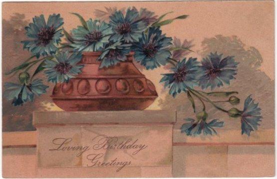 PFB Loving Birthday Greetings Postcard Blue Flowers