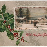 With New Year Greetings Snowy Country Scene and Holly
