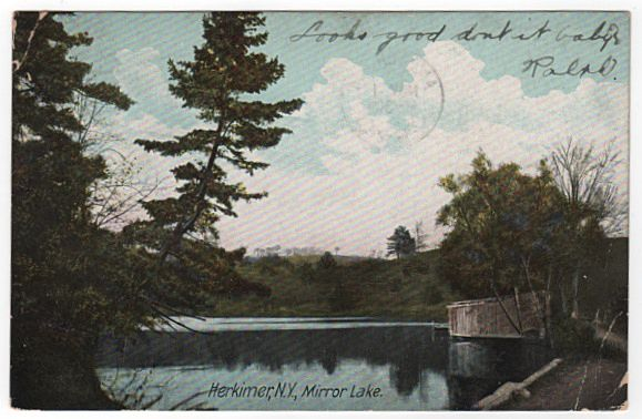 MIrror Lake Herkimer New York NY Postcard