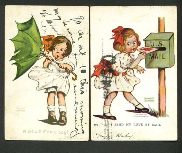 Two Katherine Gassaway Postcards Cute Girls