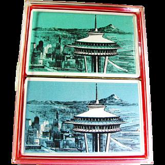 1962 Seattle Washington Space Needle Unopened Double Deck Playing Cards