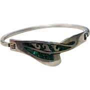 Taxco Sterling Silver Inlaid Malachite Clamper Cuff Bracelet