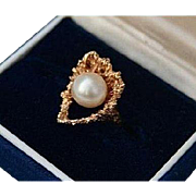 14K Modernist Heart with Cultured Pearl Solid Yellow Gold Ring Size 5.5