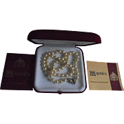 Majorica Vintage New in Box with Papers Cultured Pearl Necklace