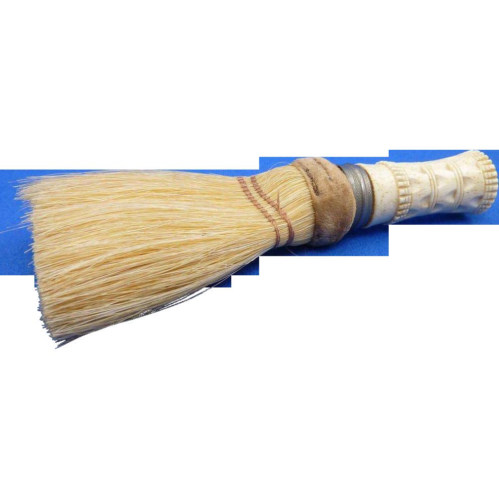 Vintage Carved Bone Handled Clothes Brush