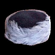 Blue Pill Box Feather & Net Hat 1960's