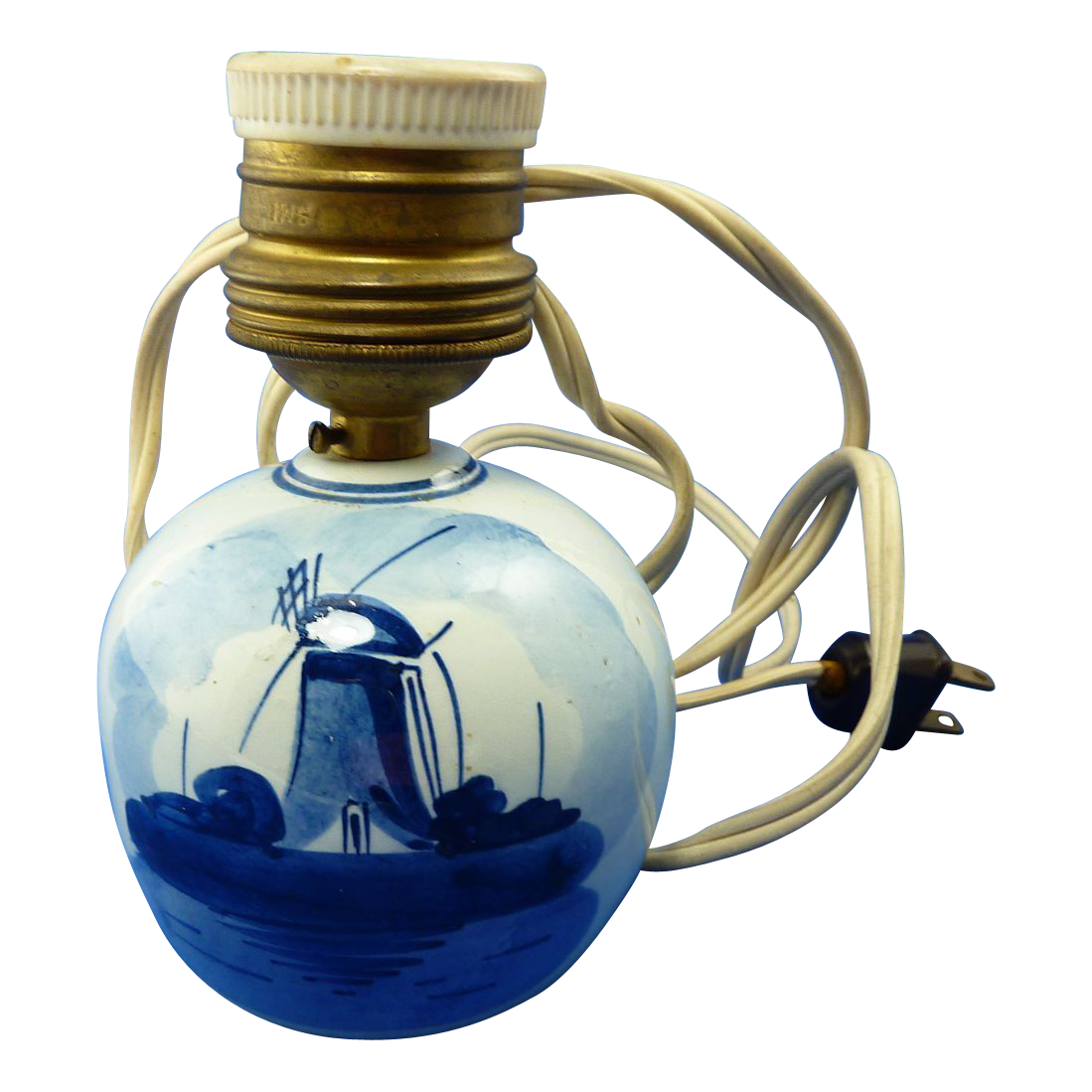 Vintage Delft Pottery Lamp Hand Painted